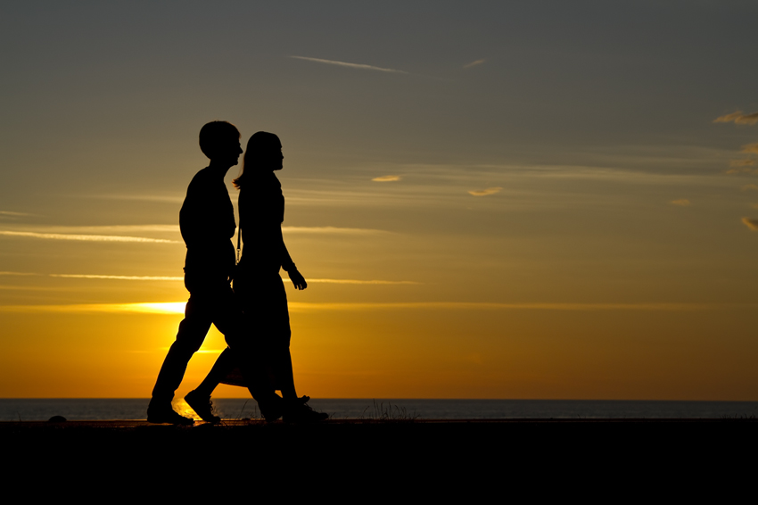 A walk in the sunset