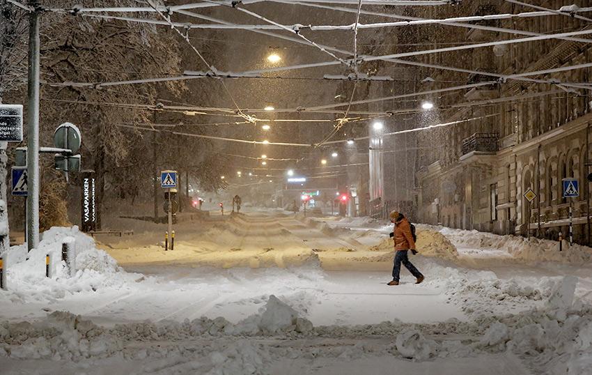Vassaplatsen during the blizzard