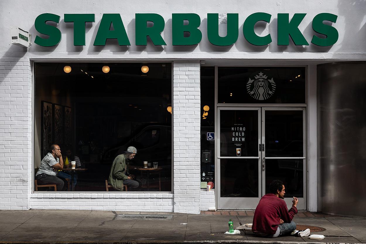 Starbucks Mirror - Street Photography San Francisco